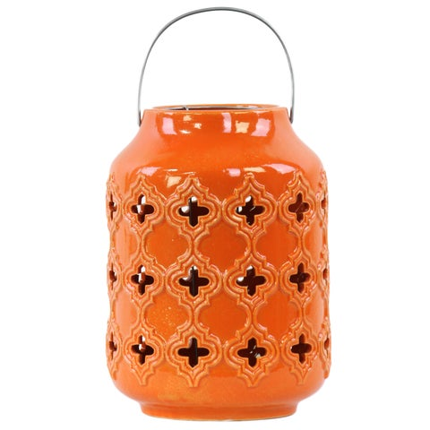 Ceramic Gloss Orange Cylindrical Lantern with Cutout Walls and Metal Handle