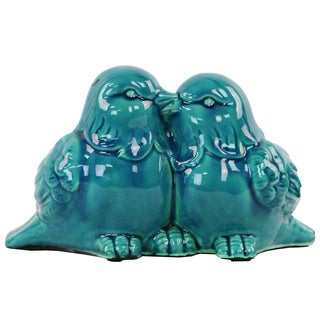 Ceramic Kissing Bird Couple Figurine Gloss Turquoise