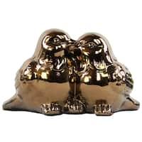 Ceramic Kissing Bird Couple Figurine Polished Gold
