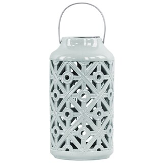 Ceramic Cylindrical Lantern with Cutout Walls and Metal Handle Gloss Light Cyan