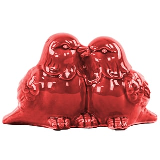 Ceramic Kissing Bird Couple Figurine Gloss Red