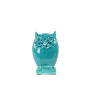 Gloss Turquoise Ceramic Small Owl Figurine on Base