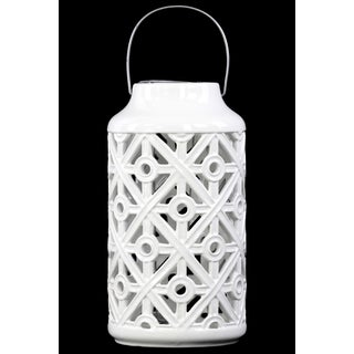 Ceramic Cylindrical Lantern with Cutout Walls and Metal Handle Gloss White
