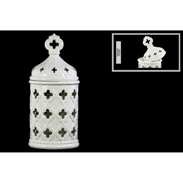 Shop UTC50016: Ceramic Round Lantern With Quatrefoil