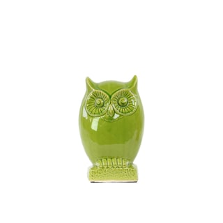 Ceramic Owl Figurine on Base - Gloss Yellow Green