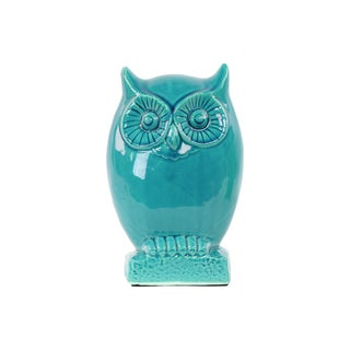 Ceramic Owl Figurine on Base LG Gloss Turquoise