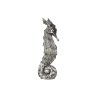 Tarnished Silver Polyresin Seahorse Figurine