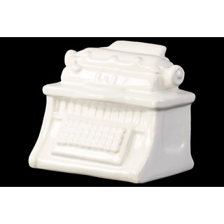 Gloss White Ceramic Vintage 1901 Typewriter Figurine