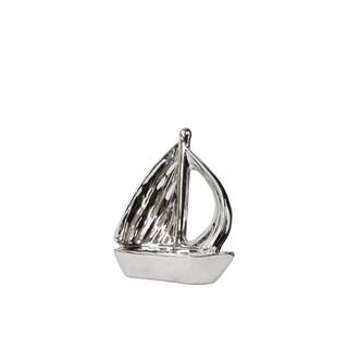Urban Trends Polished Chrome Silver Ceramic Small Boat Figurine