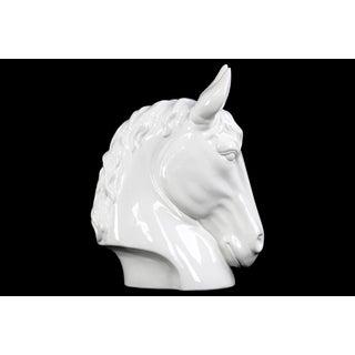 Gloss White Ceramic Small Horse Head Figurine