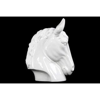 Gloss White Ceramic Small Horse Head Figurine