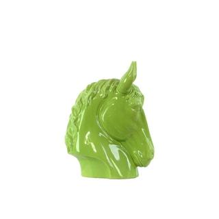 Gloss Green Ceramic Horse Head Figurine
