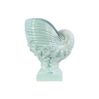 Ceramic Distressed Light Cyan Nautilus Seashell on Coral Pedestal