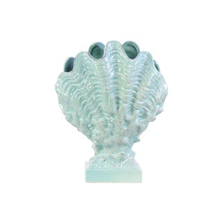 Ceramic Distressed Light Cyan Clam Seashell on Coral Pedestal