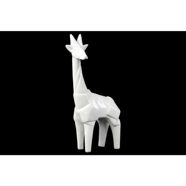 Ceramic Standing Giraffe Figurine Gloss White