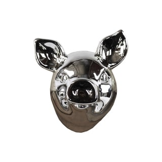 Ceramic Pig Head Wall Decor Polished Chrome Silver