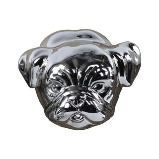 Ceramic Pug Dog Head Polished Chrome Silver