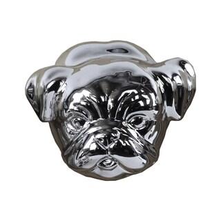 Ceramic Pug Dog Head Polished Chrome Silver