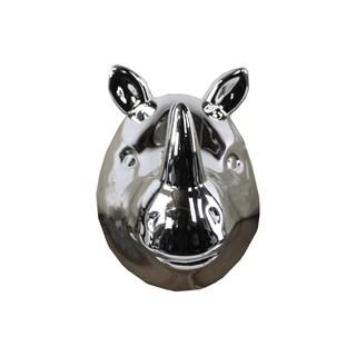 Ceramic Rhinoceros Head Wall Decor Polished Chrome Silver