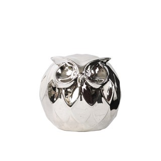 Polished Chrome Silver Ceramic Spherical Owl Small Figurine
