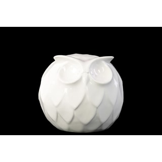 Gloss White Ceramic Spherical Owl Small Figurine