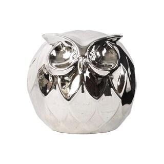 Polished Chrome Silver Ceramic Spherical Owl Large Figurine