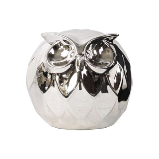 Polished Chrome Silver Ceramic Spherical Owl Large Figurine