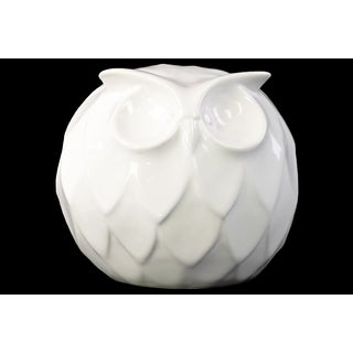 Gloss White Ceramic Spherical Large Owl Figurine