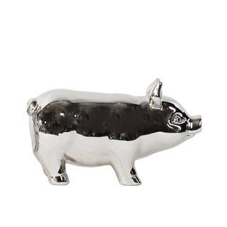Polished Chrome Silver Ceramic Standing Pig Small Figurine