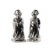 Polished Chrome Silver Ceramic Standing Monk on Base Figurine (Set of 2)