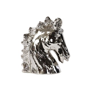 Ceramic Horse Head Polished Chrome Silver