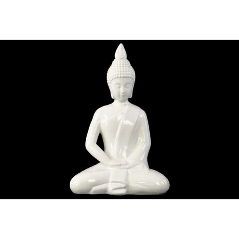 Ceramic Meditating Buddha with Pointed Ushnisha in Dhyana Mudra Figurine Gloss White