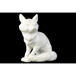 Ceramic Standing Fox Looking Left Figurine Gloss White