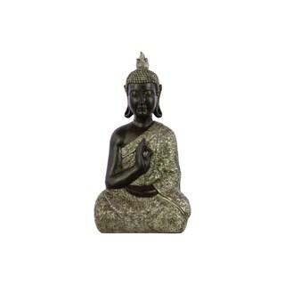 Silver Resin Meditating Buddha in Karana Mudra Matte