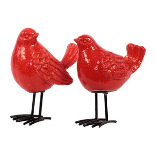 Gloss Red Ceramic Bird with Black Metal Legs (Set of 2)