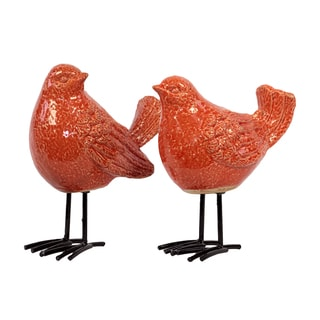 Gloss Orange Ceramic Bird with Black Metal Legs (Set of 2)