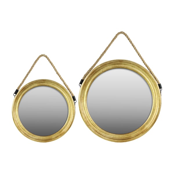 shop gold finish wood round mirror with rope hanger set of 2 free shipping today overstock. Black Bedroom Furniture Sets. Home Design Ideas