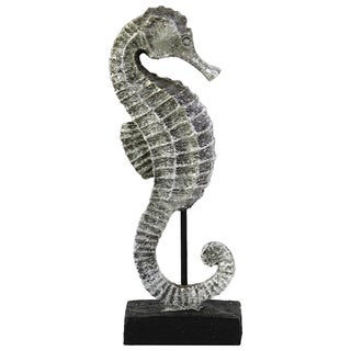 Resin Seahorse Figurine on Stand Glittery Silver