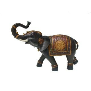 Resin Trumpeting Indian Elephant with Red Blanket Black