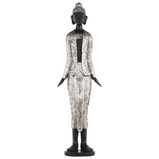 Resin Standing Buddha Silver