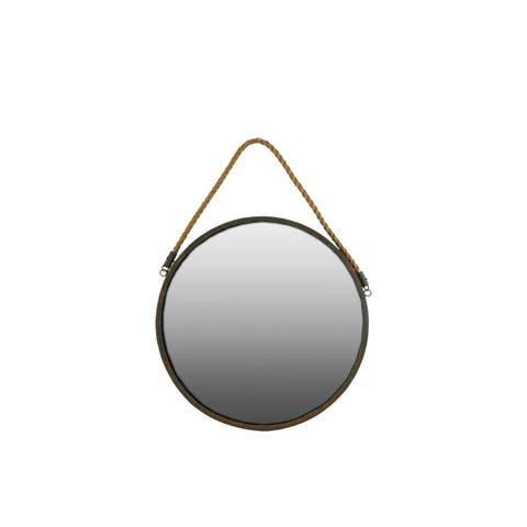 Metal Round Wall Mirror with Brown Rope