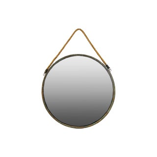 Round Brown Metal Wall Mirror