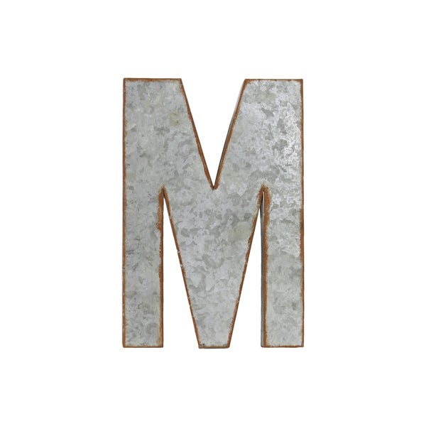 Galvanized Zinc Metal Letter 'M' Alphabet Wall Decor With