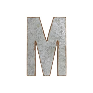 Galvanized Zinc Metal Letter 'M' Alphabet Wall Decor with Rusted Edge Effect