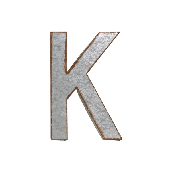 """Metal Wall Letters Home Decor: Rusted Edge Effect Metal Alphabet Wall Decor Letter """"K"""