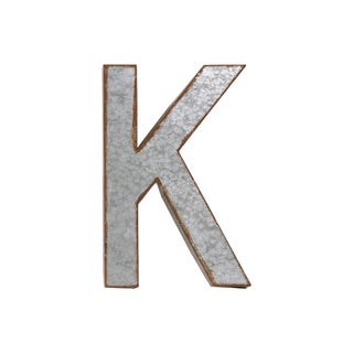 "Rusted Edge Effect Metal Alphabet Wall Decor Letter ""K"""