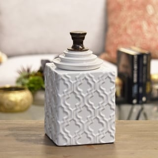 Urban Trends Copper Handled Lid and Embossed Pattern Design Small Gloss White Ceramic Jar
