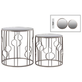 Urban Trends Metal Round Mirror Top Champagne Table (Set of Two)