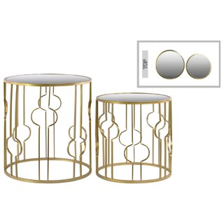 Urban Trends Round Mirror Top Gold Metal Table (Set of Two)
