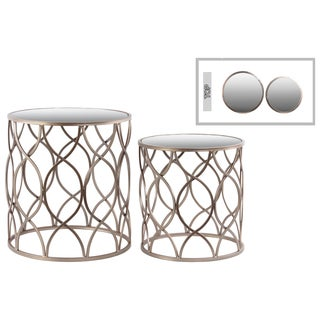 Metal Round Nesting Accent Table with Mirror Top, Intersecting Wave Design and Round Base Metallic Finish Champagne (Set of 2)